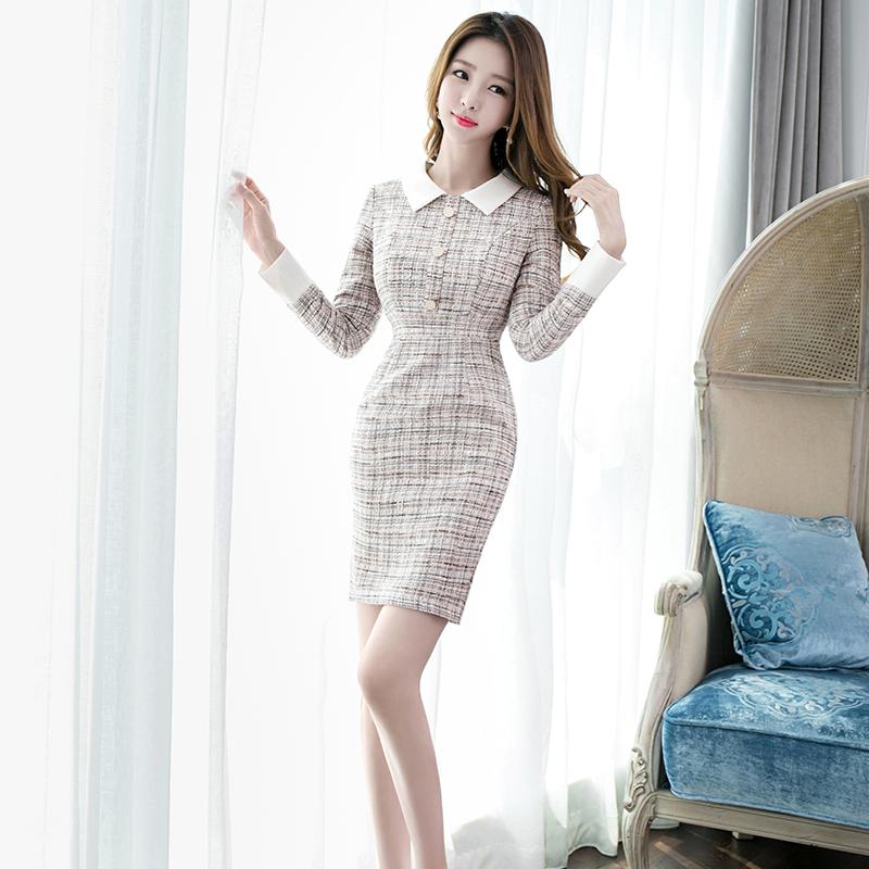 法式小香风粗纺连衣裙女2020秋冬新款女装性感气质娃娃领包臀裙
