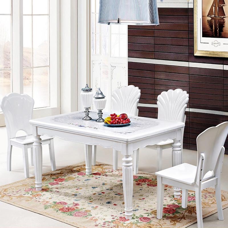 北欧大理石餐桌椅组合小户型餐厅吃饭桌简约长方形餐台实木西餐桌限4000张券