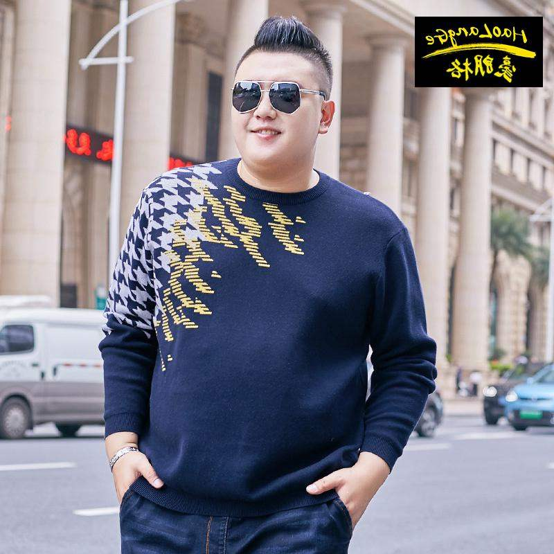 High grade brand fat mens fat plus plus plus size round neck Pullover Sweater fat super large sweater thick