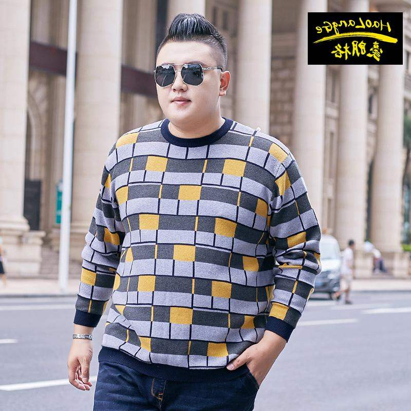 High grade brand fat super large boys long sleeve T-shirt with extra large size for middle-aged and elderly people