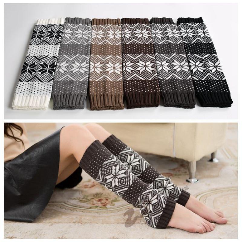 秋冬女士中长款袜套韩版毛线针织鞋套靴套简约时尚堆堆袜套护腿膝