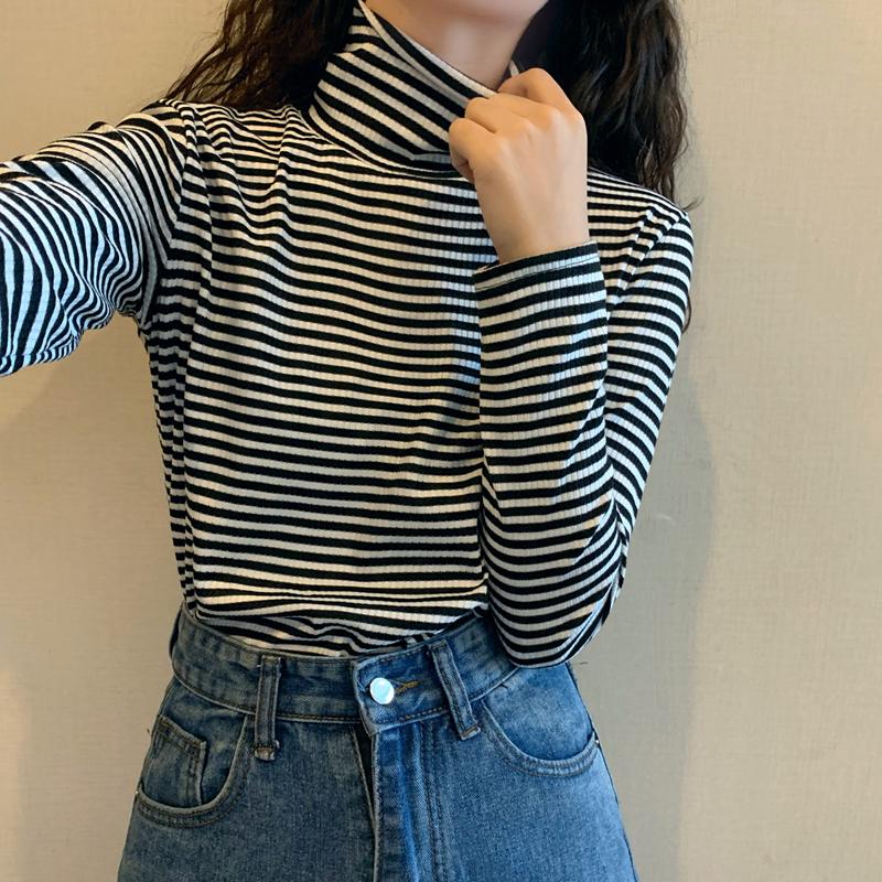 春夏韩版2021新款高领条纹修身显瘦基础款百搭打底长袖T恤上衣女