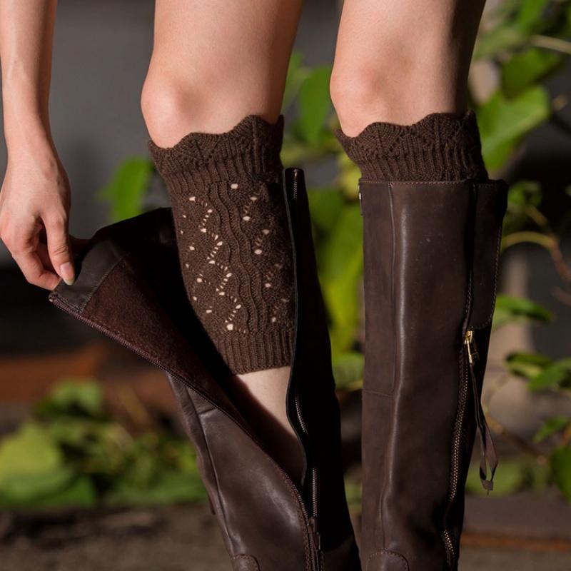 欧美秋冬女士保暖袜套毛线针织鞋套日韩时尚镂空护腿套仿蕾丝靴套