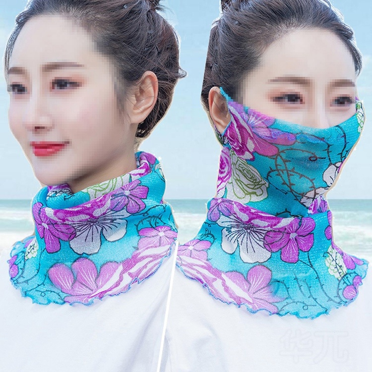 Summer mask with neck collar for sun protection daily gentle wrapping pattern purple multipurpose leisure childrens sunscreen veil