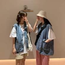 马夹外套 背心学生无袖 牛仔马甲女宽松夏天外穿韩版 BF百搭休闲工装