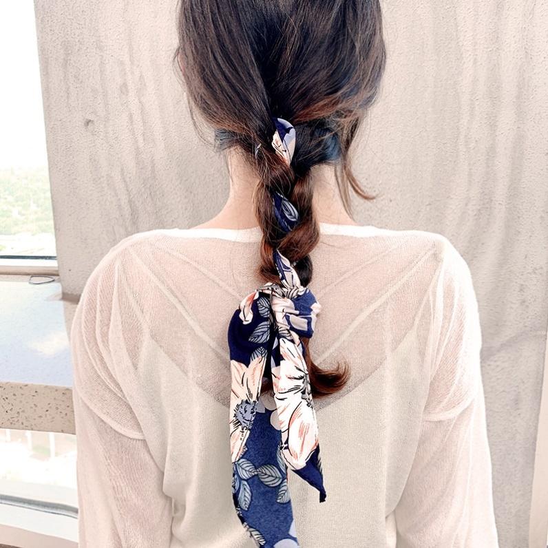 Blue hair with silk scarf tie hair versatile small square scarf female scarf flower scarf dual purpose headband net red tie hair