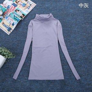 新款高领圆领堆堆领长袖T恤女纯色女式打底衫抓绒牛奶丝保暖T恤