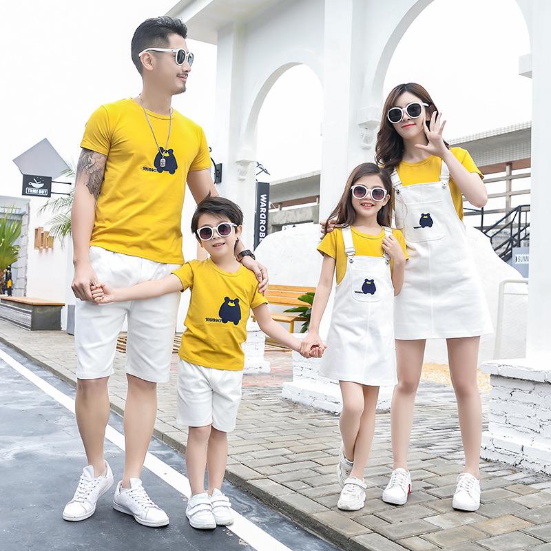 亲子装母女装洋气夏天裙子2020年女夏套装兄弟俩男童一家三口母子