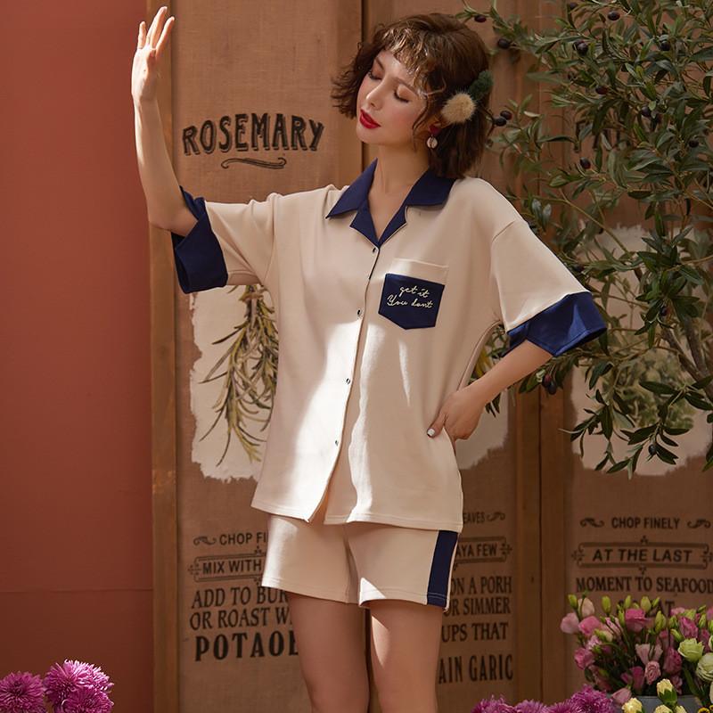 夏季睡衣女纯棉短袖开衫简约自然舒适全棉女士家居服