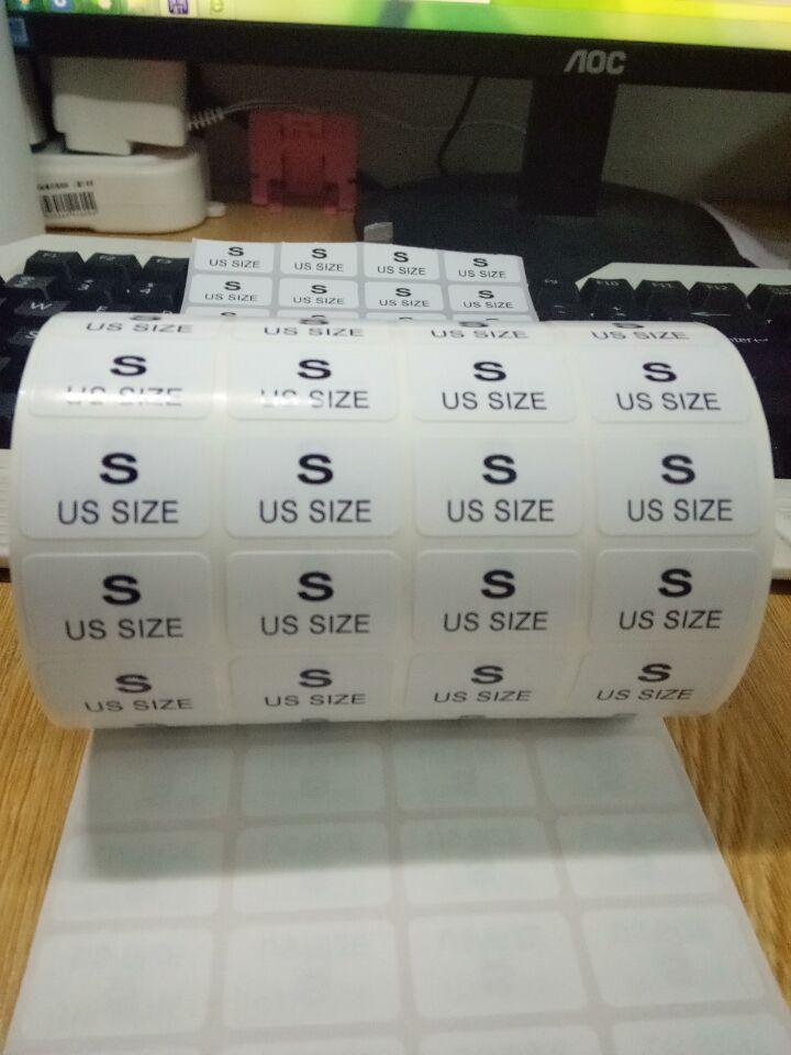 代打印不干胶服装店尺码号标签制作XS S M L XL XXL圆形标签贴纸