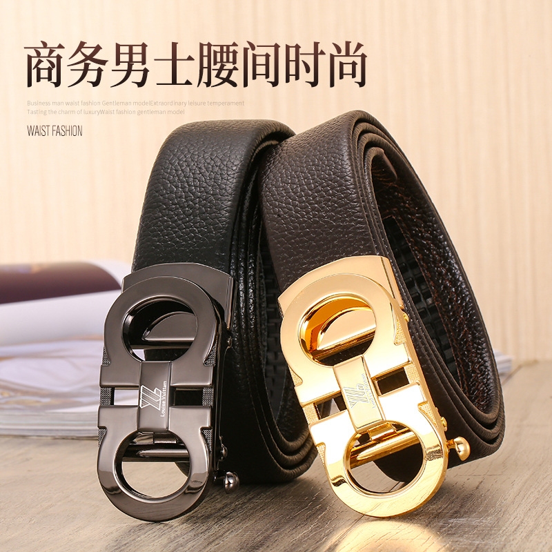 Genuine LV luyiwang leather belt mens automatic buckle belt fashion casual cowhide black business