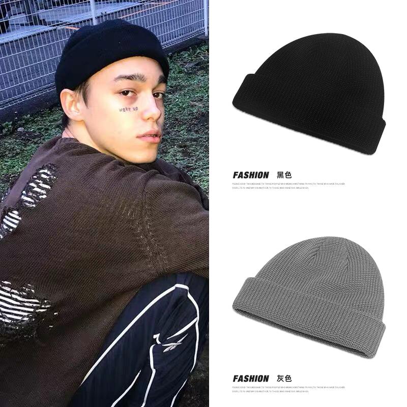 冬季帽子男士韩版潮针织帽毛线帽圆顶雅痞瓜皮帽地主帽保暖冷帽秋