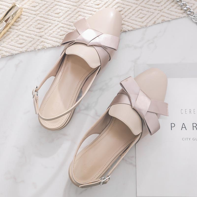 初系夏季蝴蝶结方头包头仙女凉鞋限8000张券