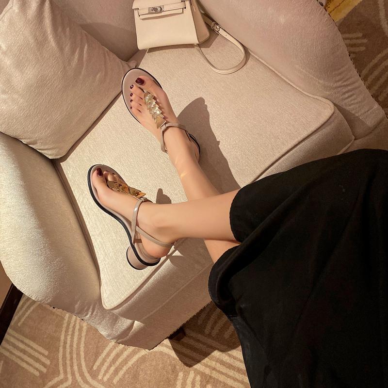 初系金属夹趾ins潮中跟仙女风凉鞋质量怎么样