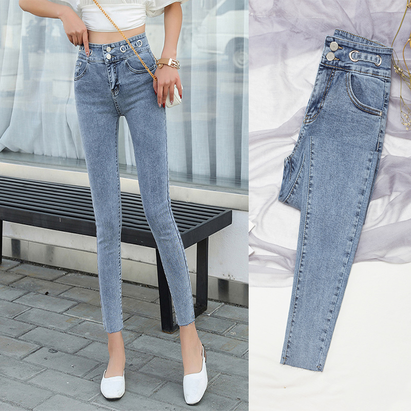 Light jeans women's high waist nine points thin stretch slim ultra-thin tight foot pants female summer new pants