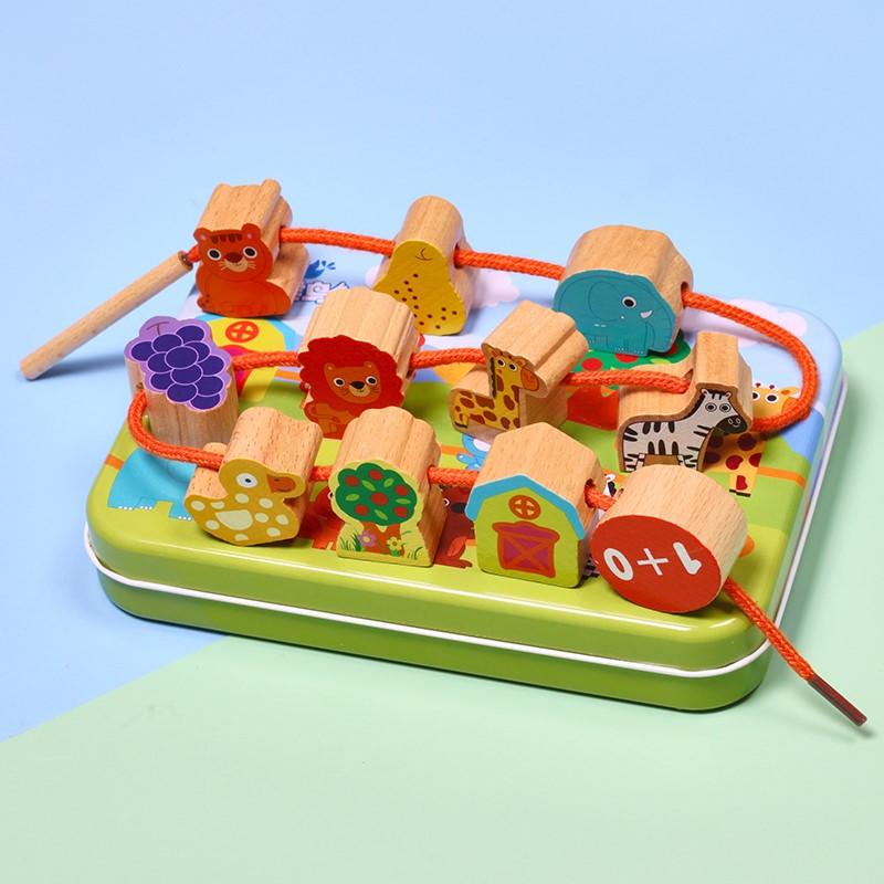婴幼儿12个月早教积木一周岁半宝宝锻炼手眼协调穿线串珠益智玩具