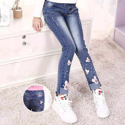 Girls baggy jeans foreign style 10-year-old girls pants 13 pants 15-year-old childrens spring and autumn trumpet primary school students
