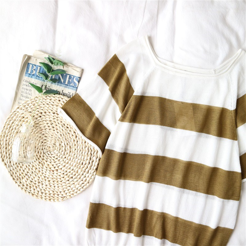 Womens autumn new round neck flying sleeve top womens stripe loose sweater womens 39856 fashion
