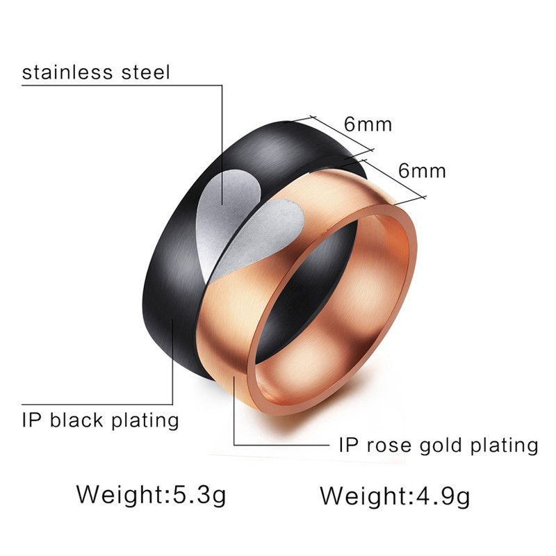 Korean couple puzzle love pair ring stainless steel rose gold plated female Ring Black personalized mens ring cr-118