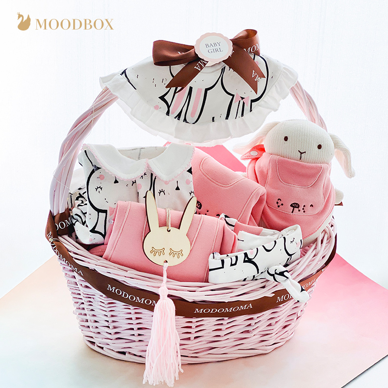 Moodbox clever box full moon newborn baby supplies gift box ins cotton one-piece air-conditioning romper suit gift basket