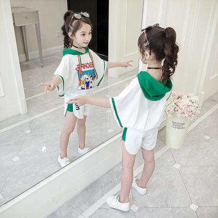 童装女童夏装2019新款超洋气套装夏儿童时髦小女孩夏天运动两件套