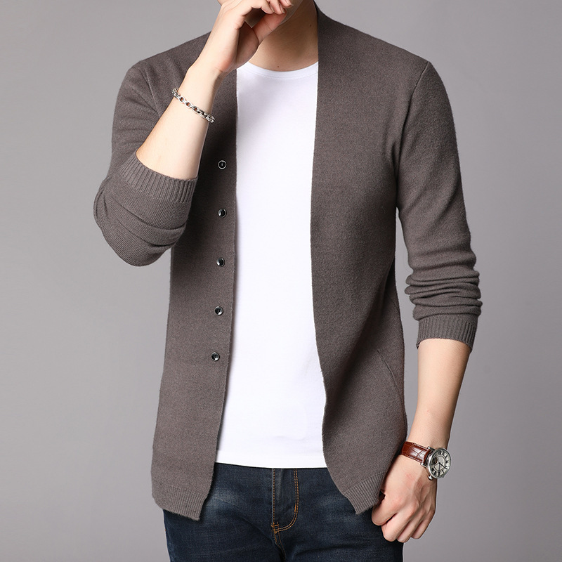 Authentic autumn new mens knitting cardigan leisure long sleeve cardigan mens sweater brand foreign trade original single shopping mall