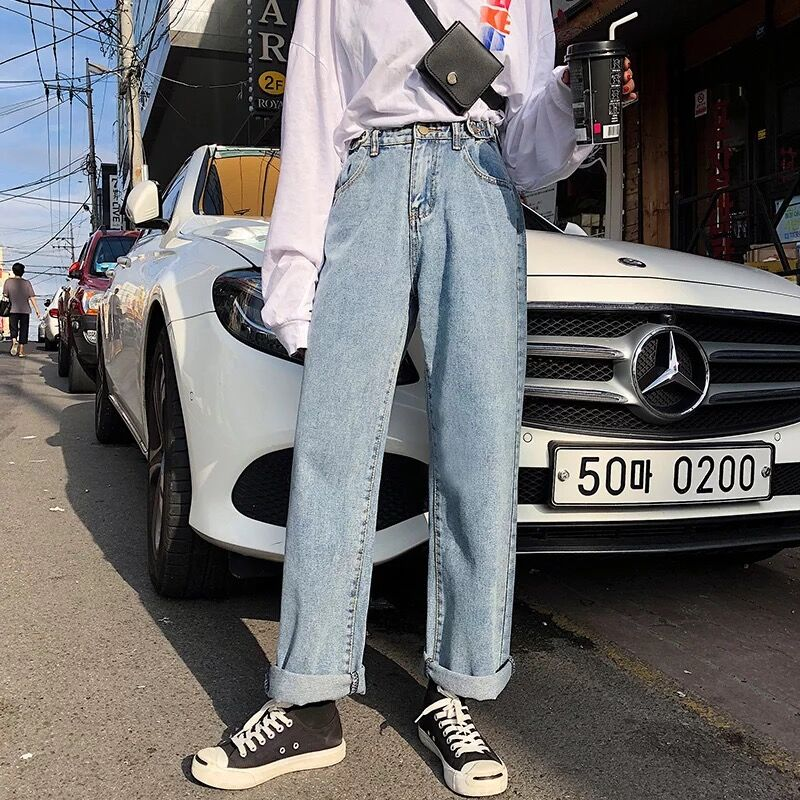 Loose jeans womens 2021 spring and summer new Korean High Waist Wide Leg Pants show thin and versatile CEC pants womens straight tube