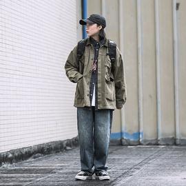 Focos日系复古工装夹克女中性BF风宽松短外套拼接百搭上衣潮男女