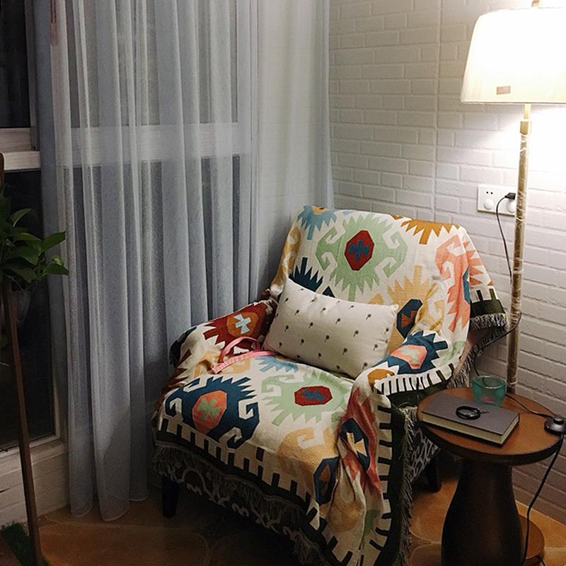 民族风沙发布全盖沙发垫沙发巾北欧单人老虎椅沙发套罩靠背巾通用