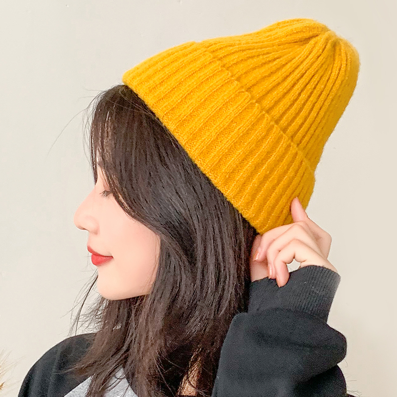 Knitted wool hat womens autumn and winter Korean version casual winter sweet and lovely fashion South Korean ins mens cold hat