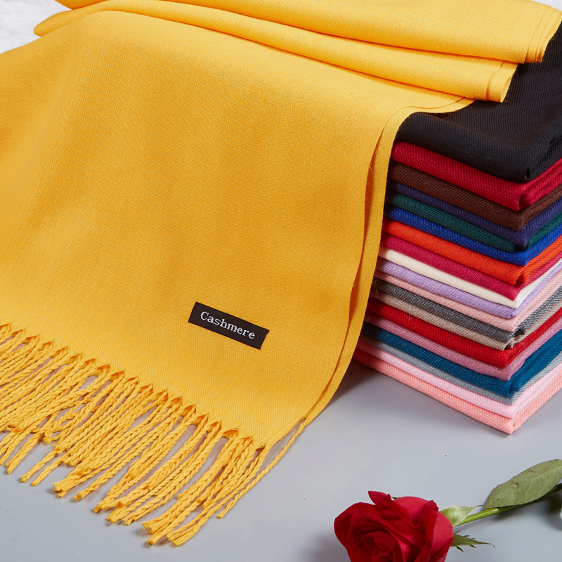 Long imitation cashmere scarf Korean Wool Womens thickening in autumn and winter pure color dual-purpose air conditioning shawl for mens warmth