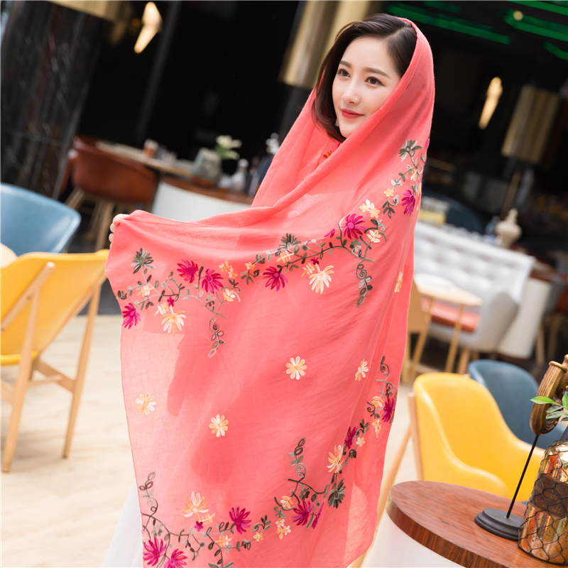 Embroidered national style cotton and linen scarf womens autumn and winter shawl dual purpose spring and autumn literature and Summer Scarf tourism long style