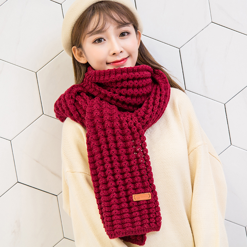 Scarf female autumn and winter Korean version versatile coarse wool Japanese department primary school fresh student ins thickened Knitted Warm neck