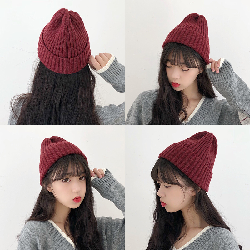 Knitted wool hat womens autumn and winter Korean version mix and match sweet and lovely winter warm and cold hat mens ins Korean Trend