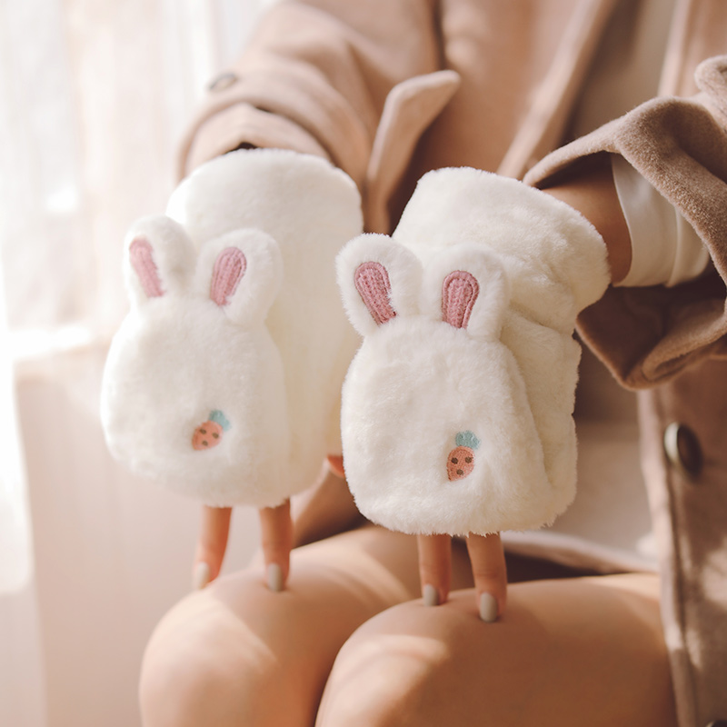 Gloves female winter students lovely Korean Edition winter warm warm Plush thick Plush winter cotton flip Half Finger cold proof