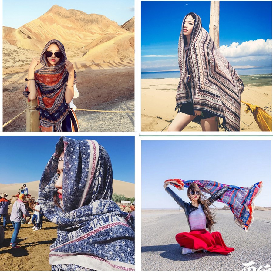 Turkey desert holiday tassel ethnic wind cotton hemp scarf women tourism Lijiang, Tibet sun protection Scarf Shawl