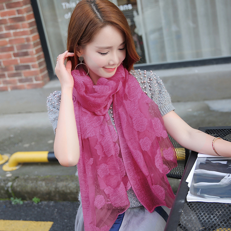 Silk scarves Korean womens versatile autumn style fashion long super large spring and autumn thin scarves autumn and winter Shawl Scarf