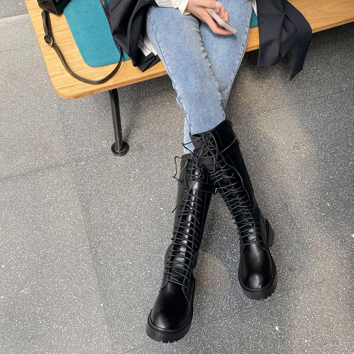 Autumn and winter 2020 new Knights boots lace up Martin boots British style long boots womens under knee high boots