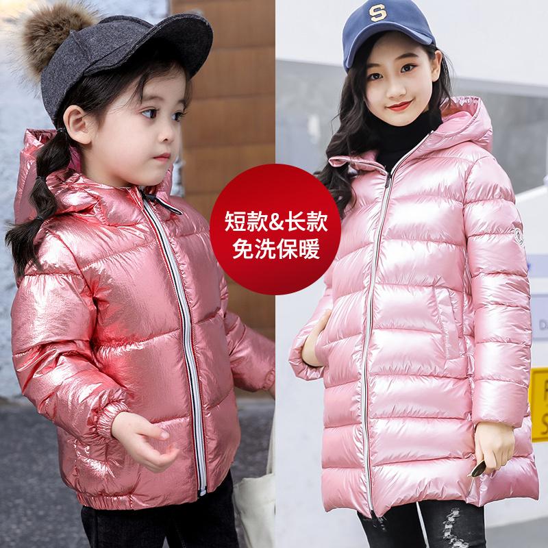 2018儿童太空银色棉服男女童加厚冬装中大童羽绒棉服短款长款外套