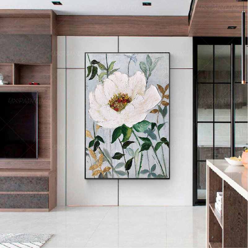 清新植物花卉掛畫厚顏料立體畫純手繪油畫山茶花玄關餐廳裝飾畫