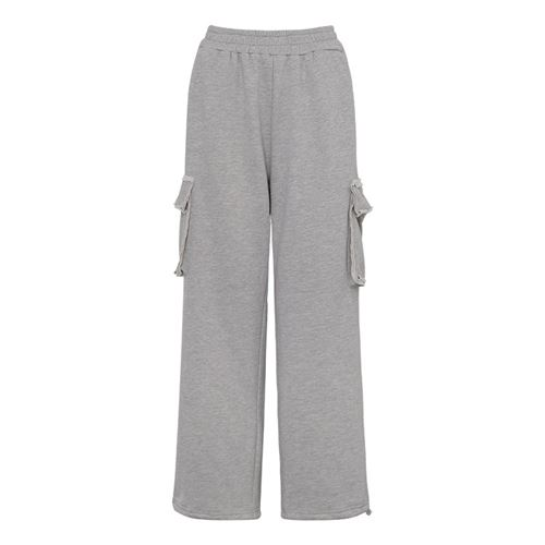 Liang mix pickles autumn and winter straight pants wet elastic waist loose binding feet grey tooling leisure sports pants female