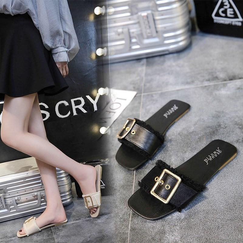 露趾一字拖鞋子女2018新款韩版夏季平底时尚百搭凉拖鞋外穿沙