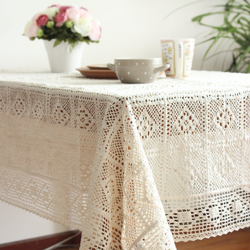 热销437件限时抢购森系棉线镂空针织仿手工桌布茶几餐桌餐艺台布盖巾特价包邮