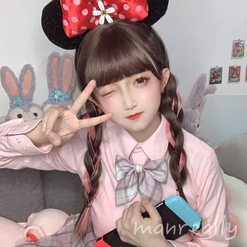 Wig girl long hair highlights pink long straight hair Cute lifelike JK Lolita sweet natural full headgear