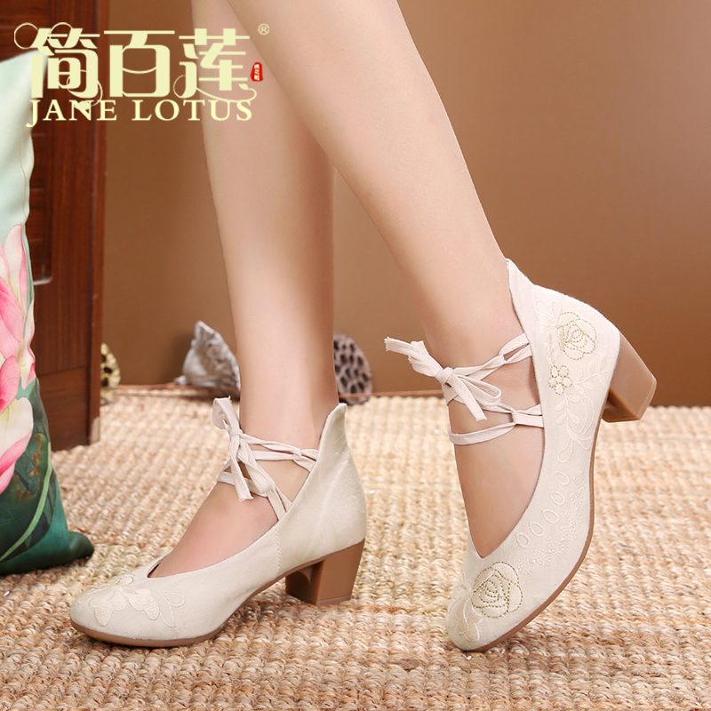 Jane Bailian old Beijing cloth shoes women's spring new summer fashion middle heel high heels women's work shoes sandals embroidered women's shoes