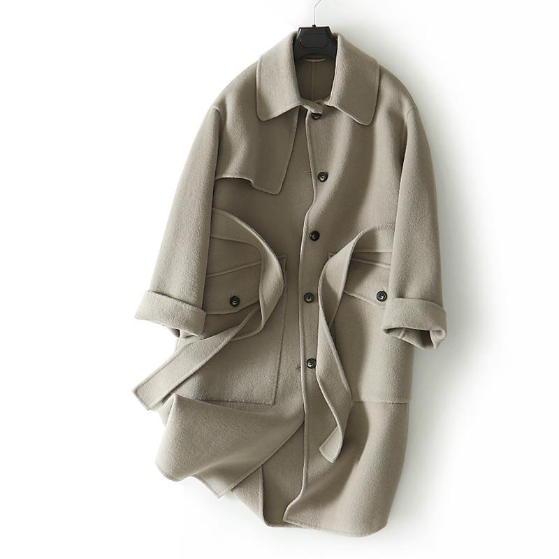 韩囯货羊毛羊绒~加厚高品质~腰带气质显瘦双面羊绒大衣H03BD0733