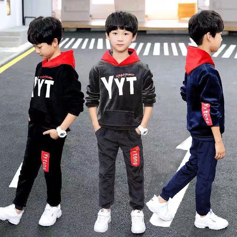 2020新款舒适儿童长袖套装童装男童冬季中大童卫衣女童学生两件套