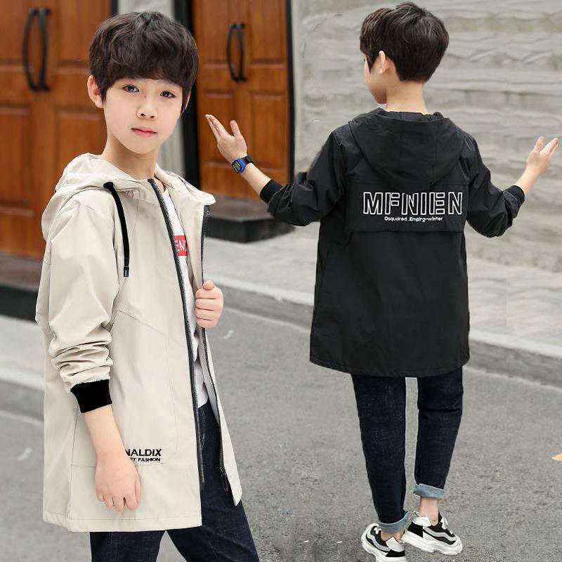 男童风衣2020新款儿童装连帽中大童外套时尚中长款上衣潮百搭秋装