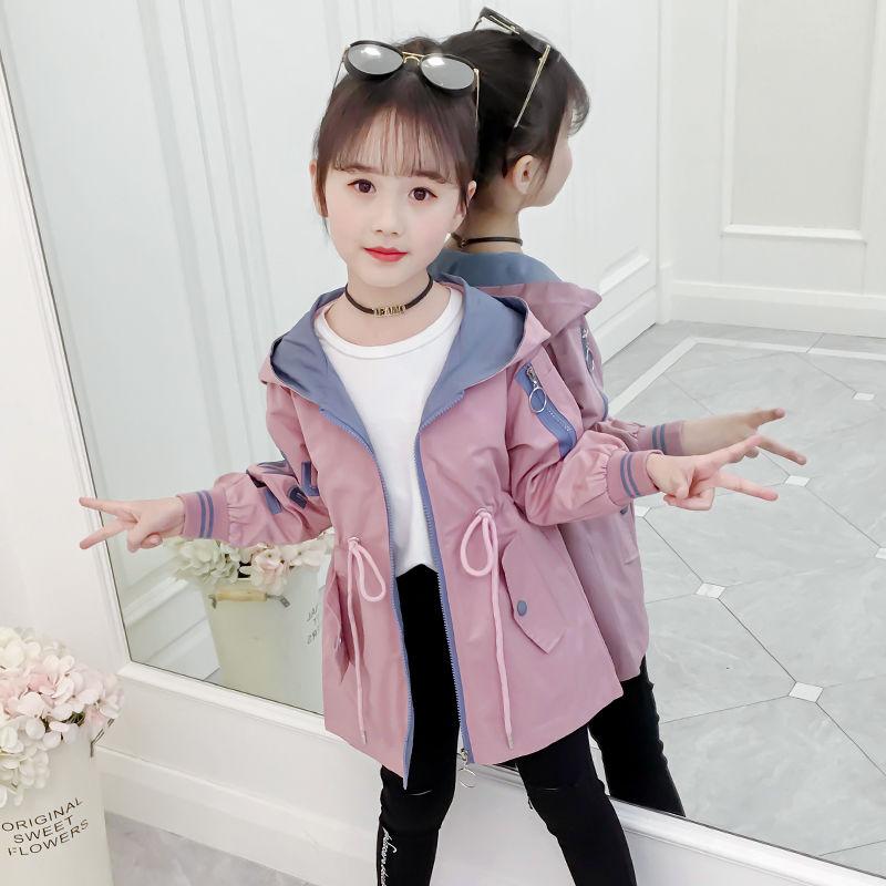 洋气女童风衣时尚儿童装韩版中长款中大童外套女学生秋装夹克上衣