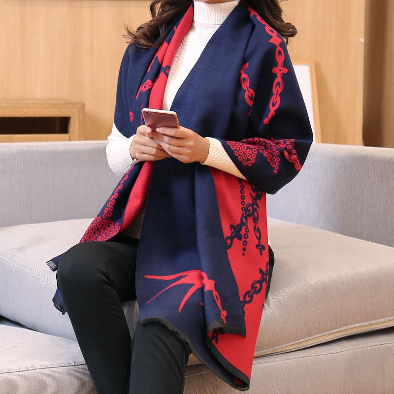 披肩女秋冬办公室保暖大围巾加厚双面披风两用长款外搭韩版围脖